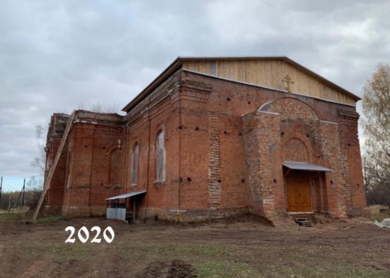 Храм Тихвинской иконы Божией Матери в 2020 году. Вид на Никольский предел.